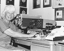 Iris Colvin, W6QL, on the air c.1980